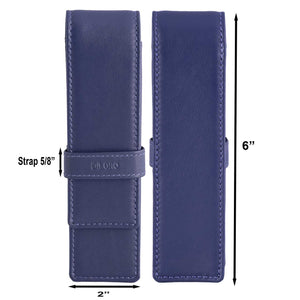 DiLoro Double Pen Case Holder in Top Quality, Full Grain Nappa Leather - Violet (Purple) Dimensions