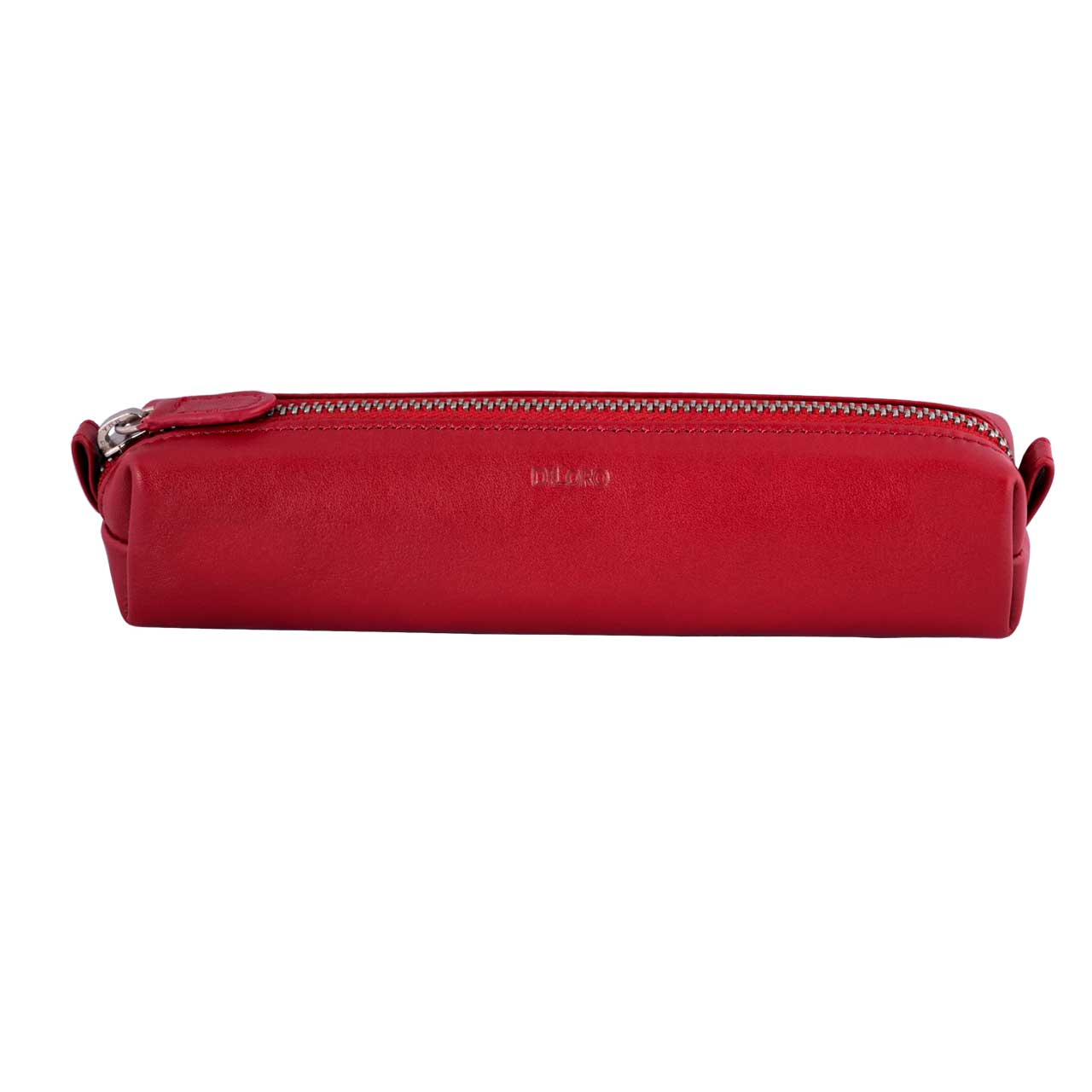 Multi-Purpose Zippered Leather Pen Pencil Case in Various Colors - Red