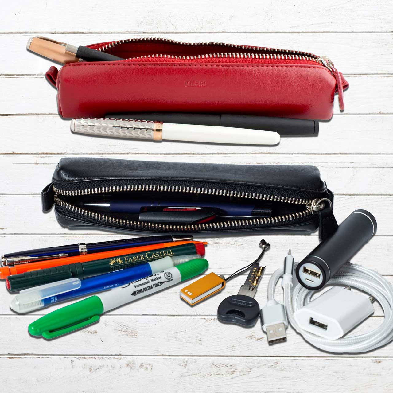 DiLoro Pen & Pencil Case: Venetian Red and Black YKK zippered pencil, pen case made from top quality, full grain nappa leather. Ideal for when you travel to keep your favorite pen, pencils, fountain pen, calligraphy pens, gel pens, stylus pen protected from getting scratched up