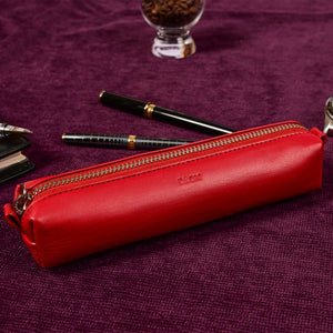 Multi-Purpose Zippered Leather Pen Pencil Case in  Red - Lifestyle Image (R.Santana)