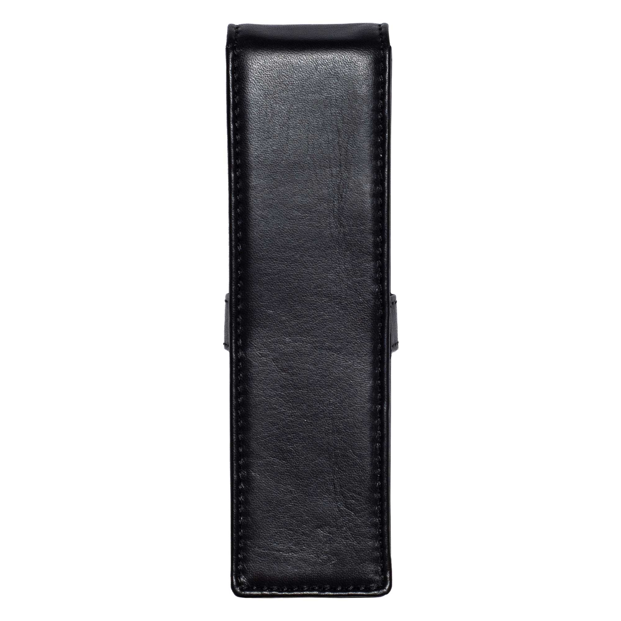DiLoro Double Pen Case Holder in Top Quality, Full Grain Nappa Leather - Black Back View