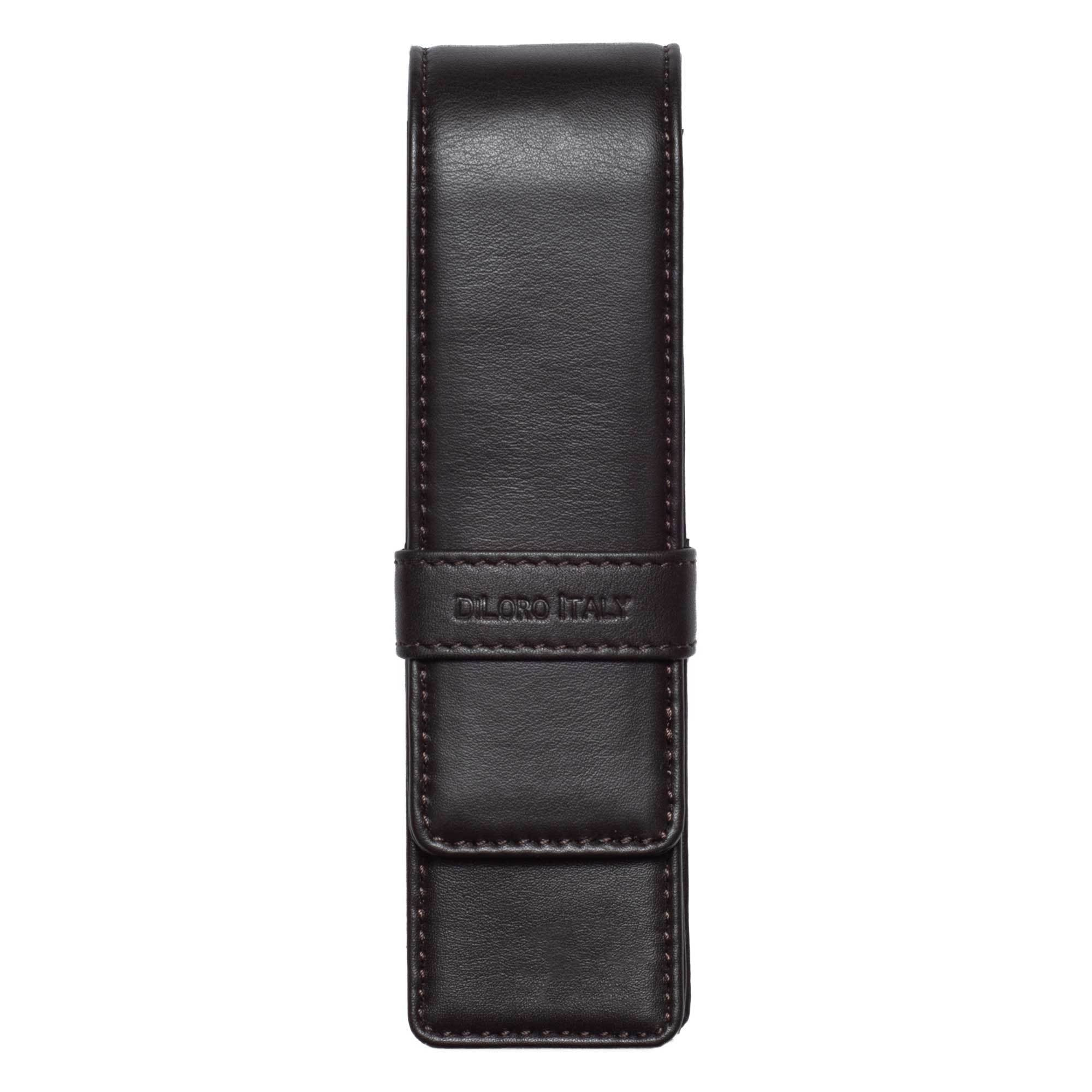 DiLoro Double Pen Case Holder in Top Quality, Full Grain Nappa Leather - Dark Brown Front View