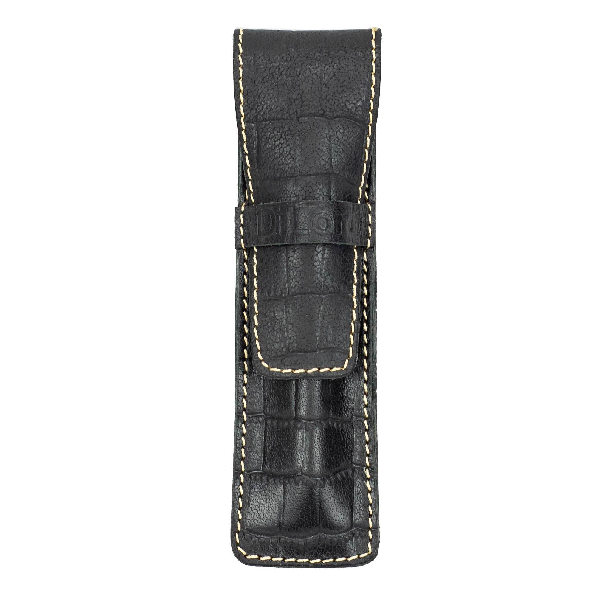 DiLoro Leather Pen Case Holder Black Croc Print for One Single Pen or Mechanical Pencil - Designed in Switzerland