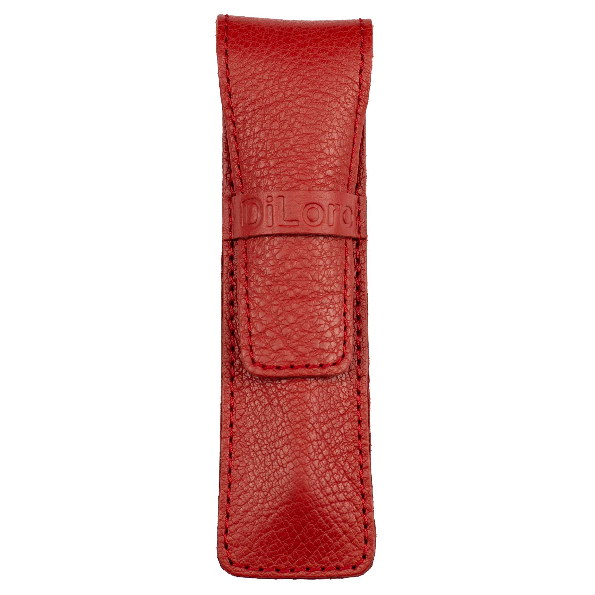 DiLoro Single Leather Pen Holder in Venetian Red, Full Grain Leather
