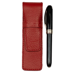 DiLoro Single Leather Pen Holder in Venetian Red, Full Grain Leather - With Pen (not included)