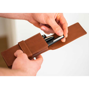 DiLoro Leather Triple Pen and Pencil Holder - Bugatti Tan Open