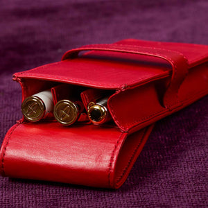 DiLoro Leather Triple Pen and Pencil Holder - Venetian Red Open Inside View (pens not included)