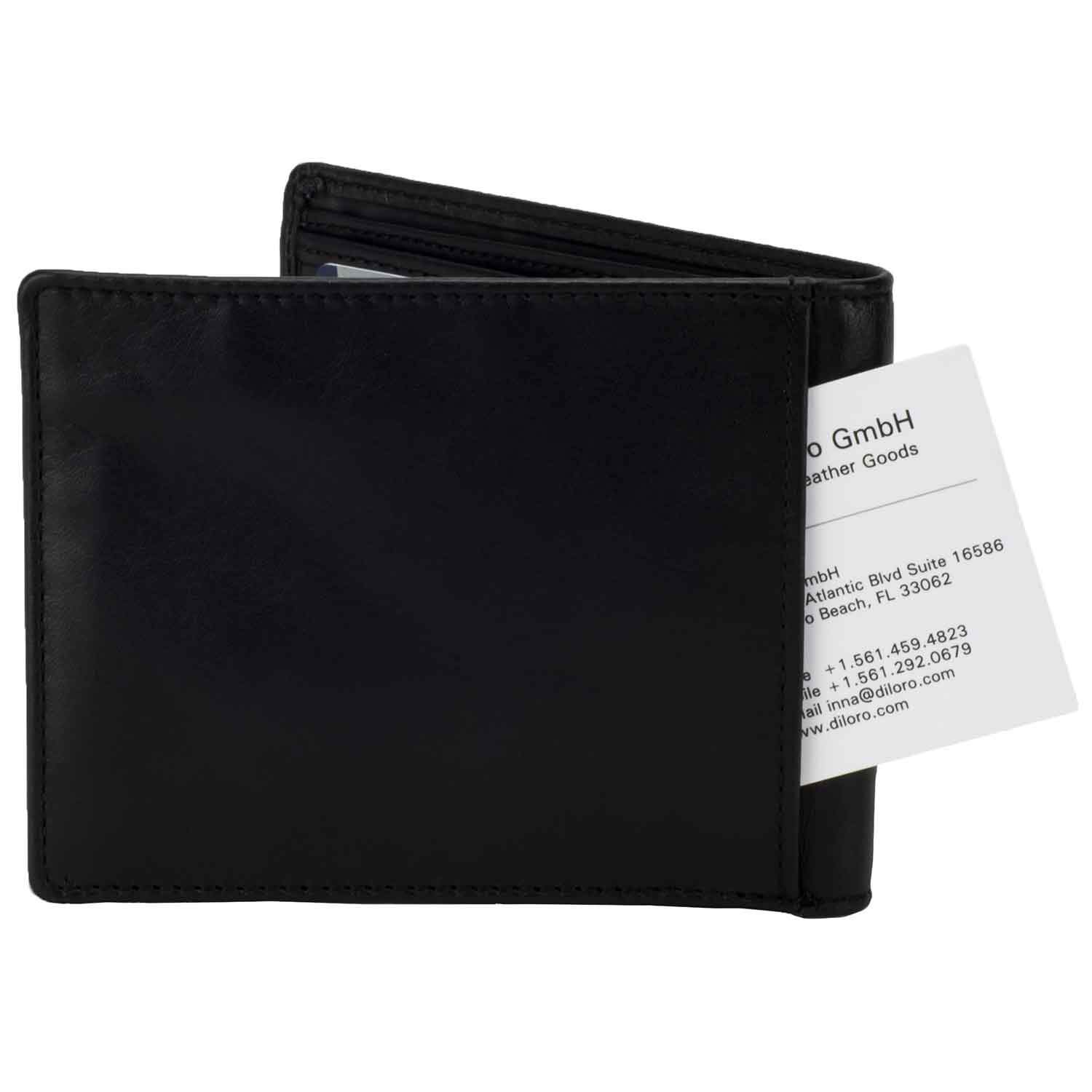 8c79cb657b61 DiLoro Slim Bifold Leather Wallet with Outside Slip Pocket and RFID  Protection - back view