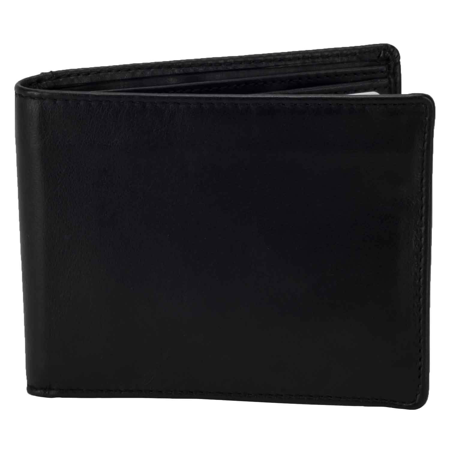 DiLoro Slim Bifold Leather Wallet with Outside Back Slip Pocket and RFID Protection - front view