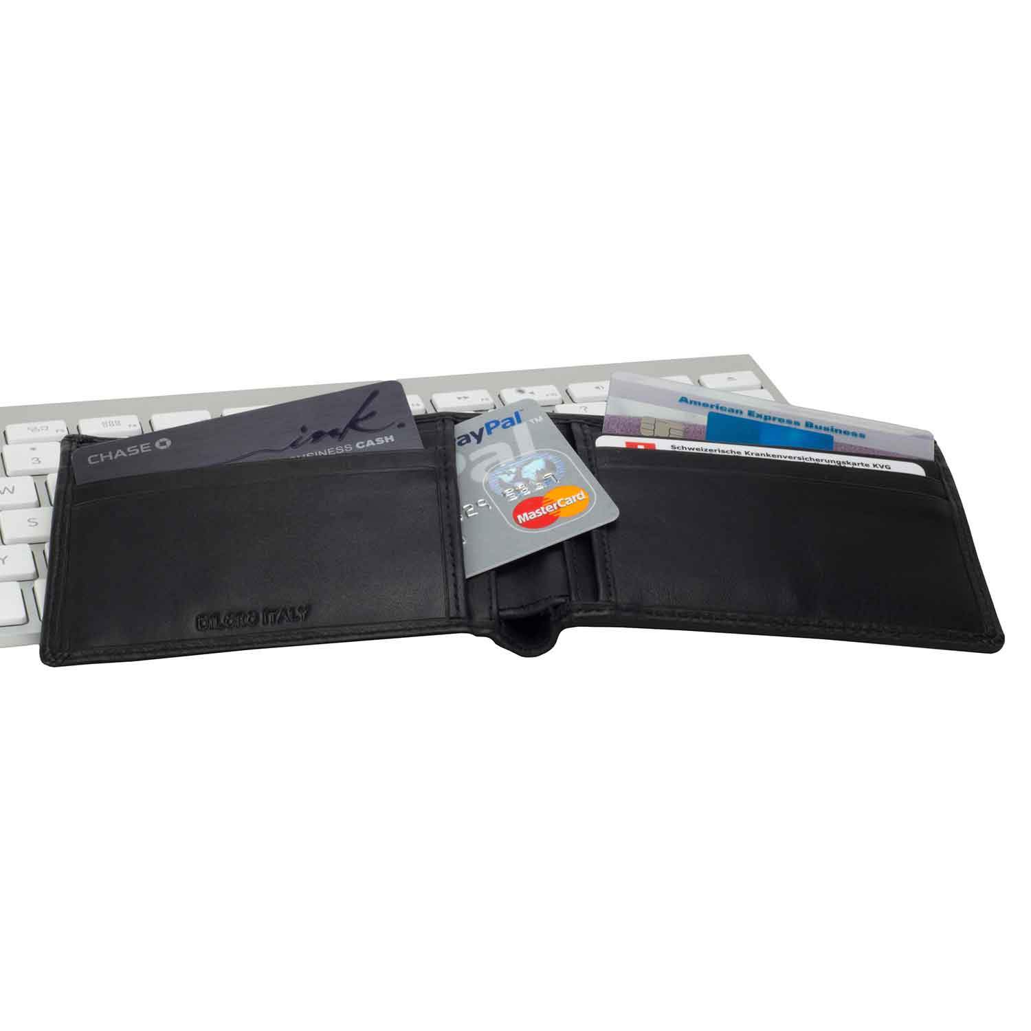 DiLoro Slim Bifold Leather Wallet with Back Slip Pocket and RFID Protection - open inside view open with cards (not included)