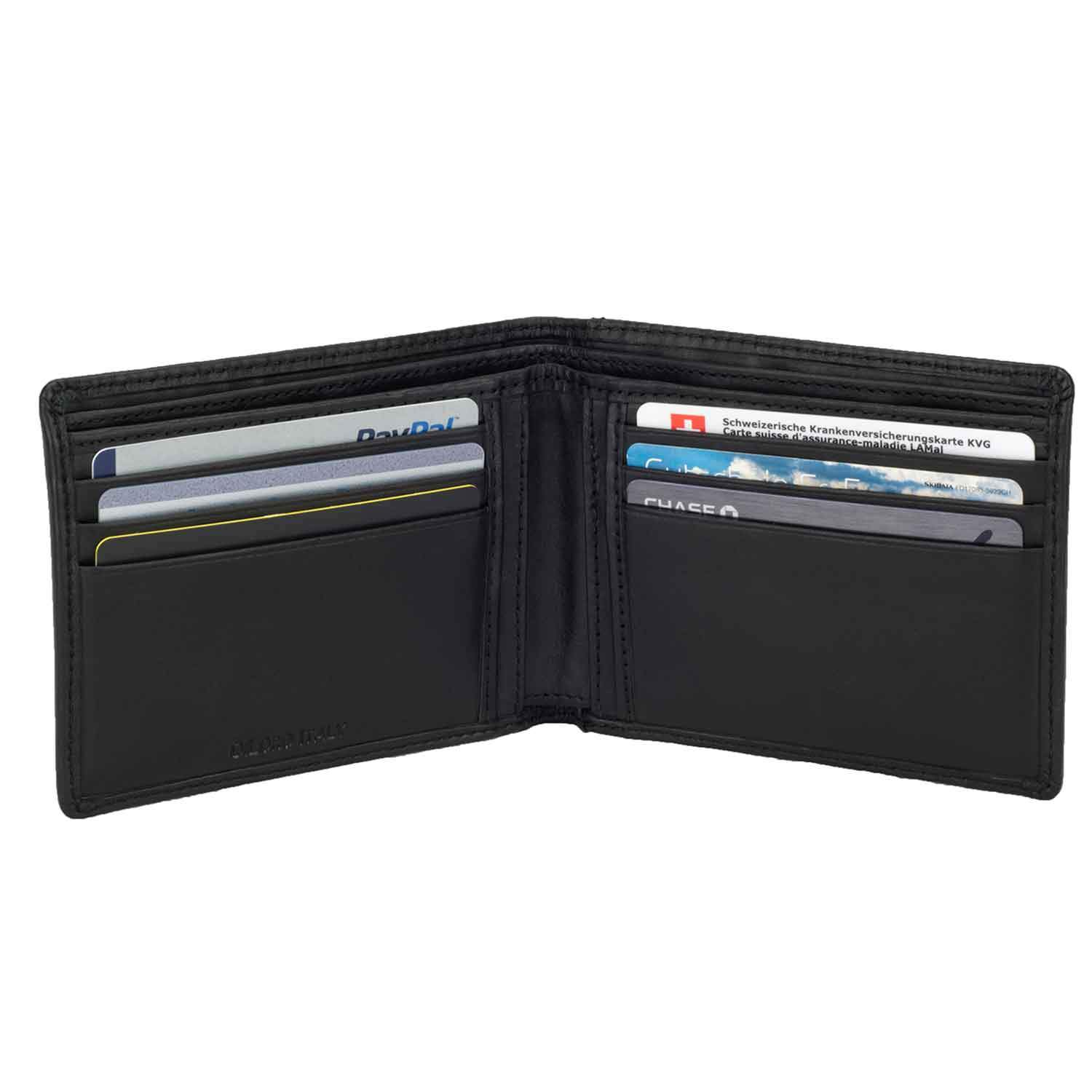DiLoro Slim Bifold Leather Wallet with Back Slip Pocket and RFID Protection - open inside view with card (not included)