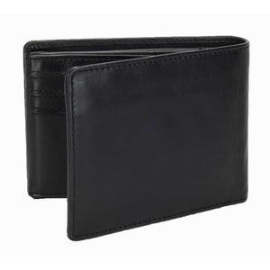 DiLoro Men's Leather Bifold Flip ID Zip Coin Wallet with RFID Protection in Black. Full grain nappa leather - best quality leather! Back, side view