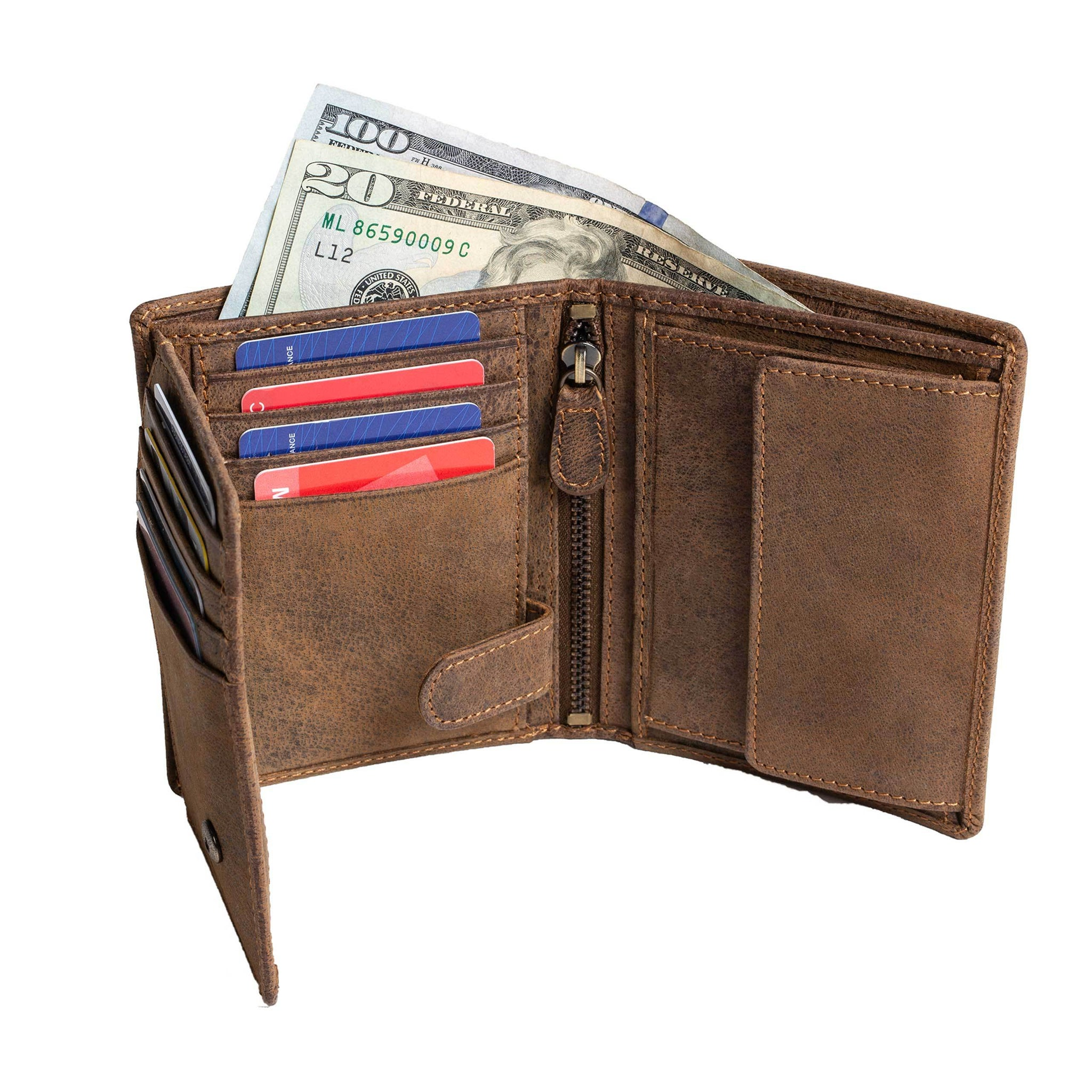 DiLoro Men's Vertical Leather Bifold Flip ID Zip Coin Wallet in Dark Hunter Brown with strong RFID Protection