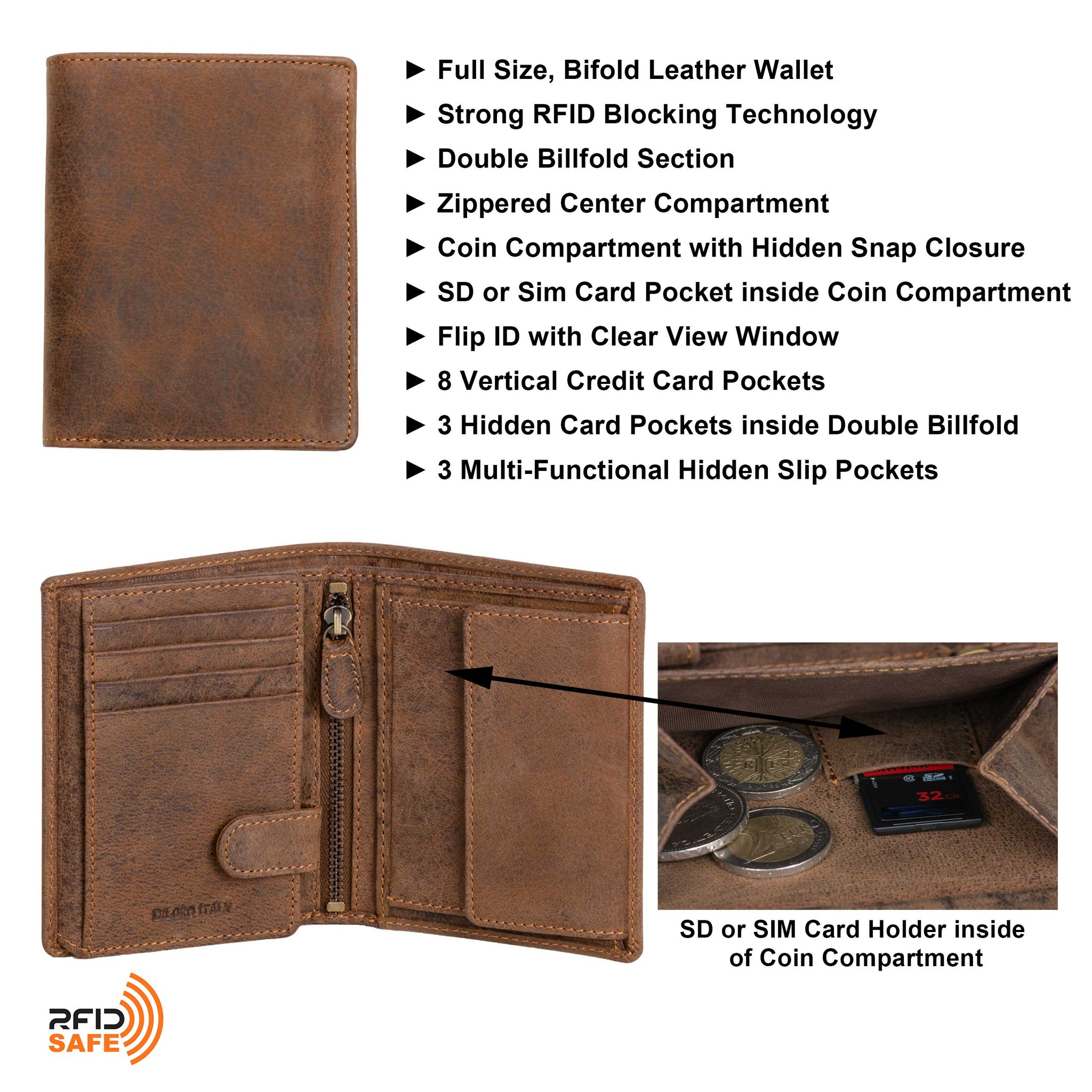 Men's Leather Wallet Large Vertical 2.0