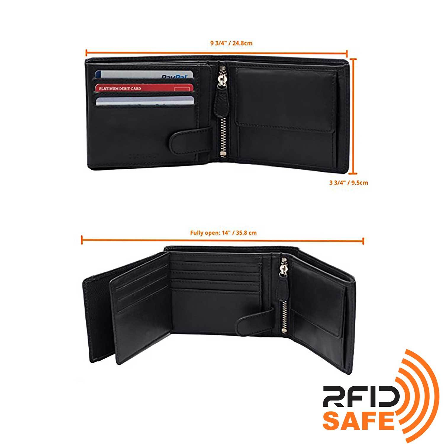 DiLoro Men's Leather Bifold Flip ID Zip Coin Wallet with RFID Protection in Black. Full grain nappa leather - best quality leather! Dimensions of our wallet.