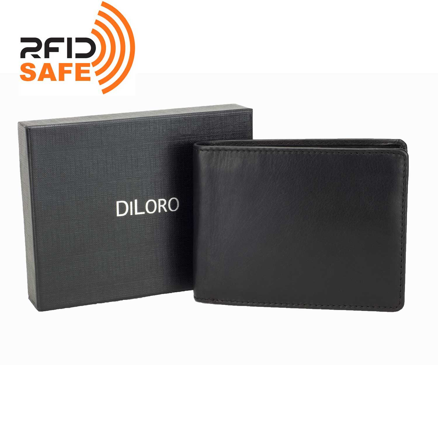 DiLoro Men's Leather Bifold Flip ID Zip Coin Wallet with RFID Protection in Black. Full grain nappa leather - best quality leather! SKU 1808 with DiLoro Gift Box.