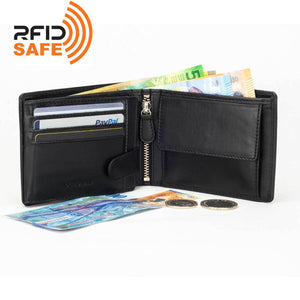 DiLoro Men's Leather Bifold Flip ID Zip Coin Wallet with RFID Protection - Black