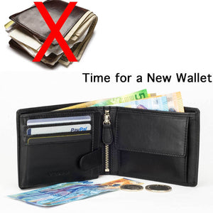 DiLoro Men's Leather Bifold Flip ID Zip Coin Wallet with RFID Protection in Black. Don't overstuff your wallet!