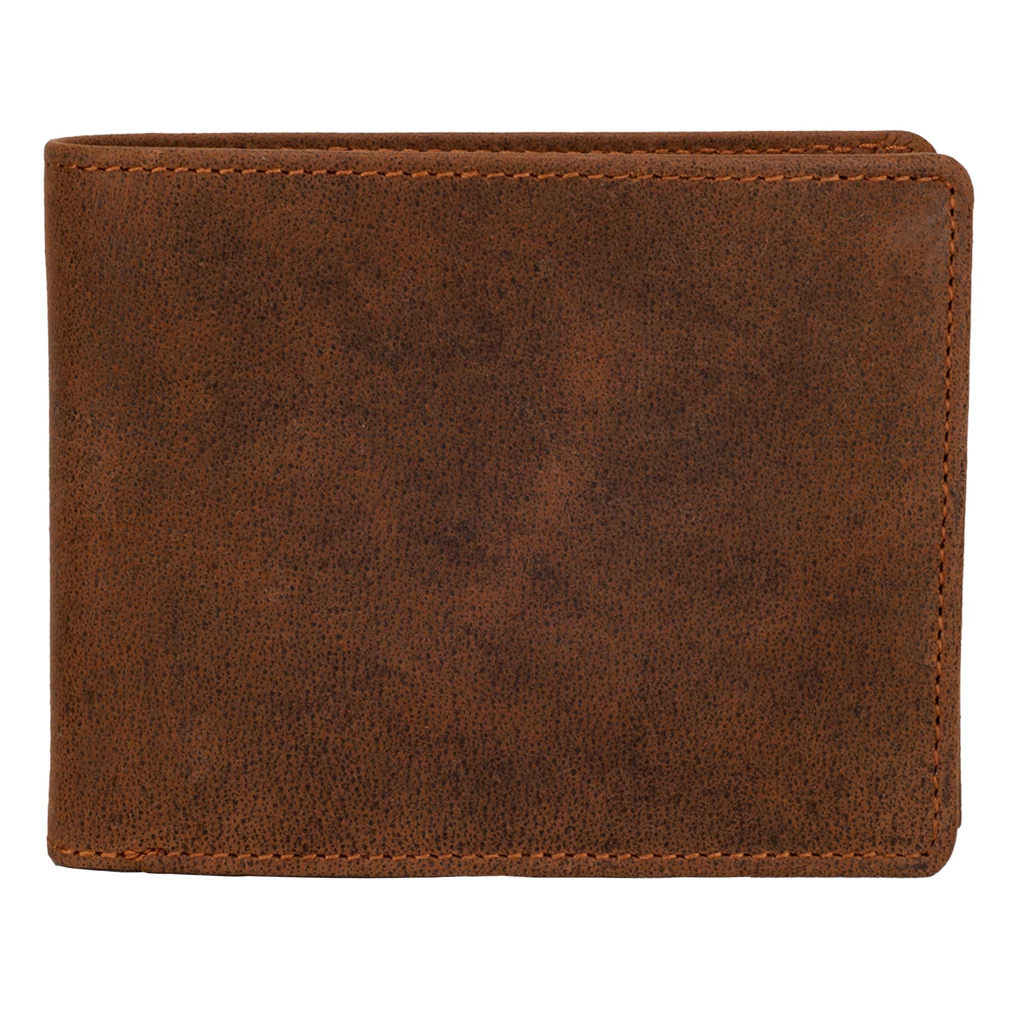 DiLoro Men's Leather Bifold Flip ID Zip Coin Wallet with RFID Protection - Dark Hunter Brown Front View