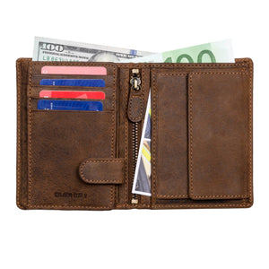 DiLoro Men's Vertical Leather Bifold Flip ID Zip Coin Wallet Dark Hunter Brown RFID Blocking Technology - Inside, Half Open View with Cash