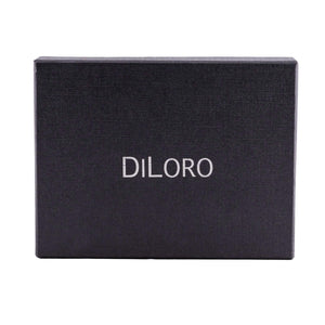 DiLoro Men's Leather Wallet Gift Box - Black with Silver DILORO Logo
