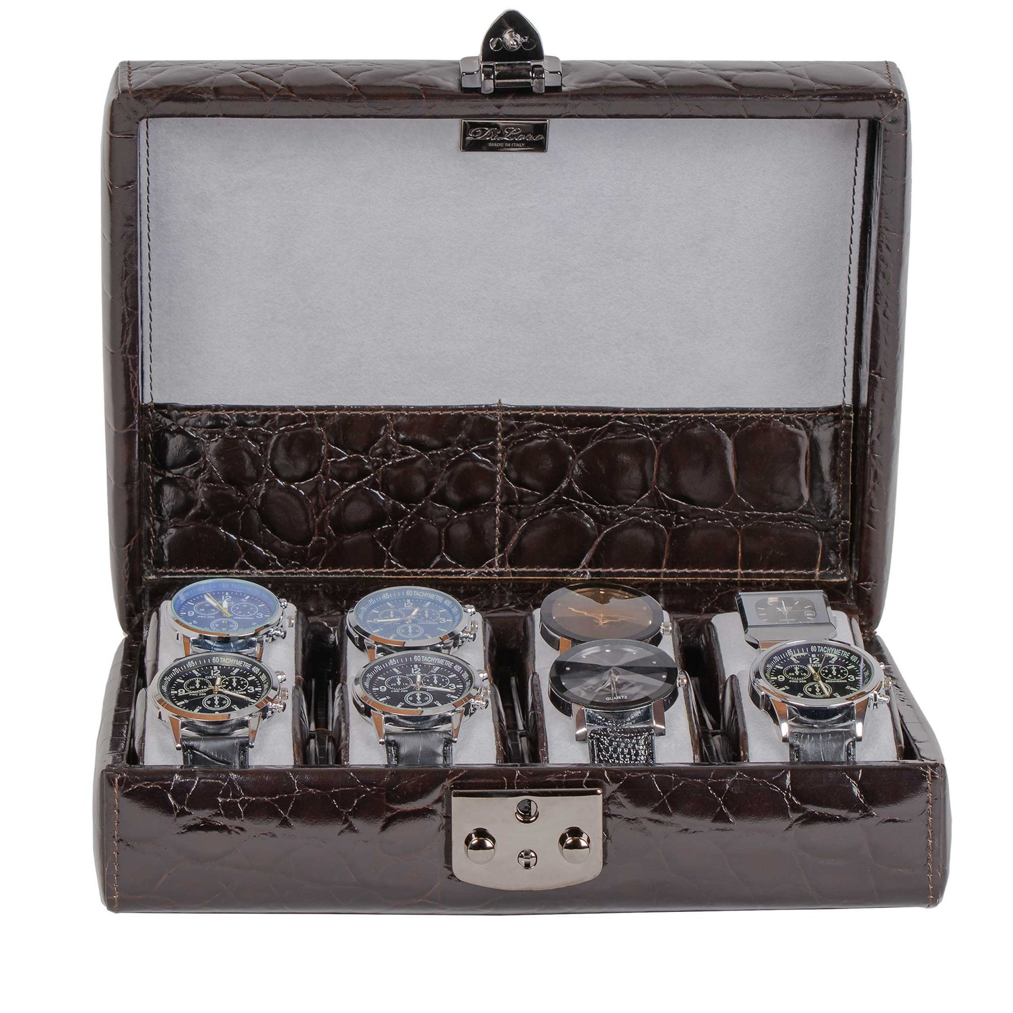 DiLoro Italian Leather Travel Watch Case Holds Eight Watches Brown Croc Print - Open Front (watches not included)