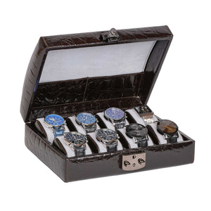 DiLoro Italian Leather Travel Watch Case Holds Eight Watches Brown Croc Print - Open, inside view with watches (not included)