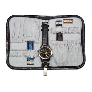 DiLoro Italian Leather Black Zippered Travel Watch Case for 4 Watches Made in Italy
