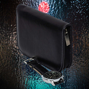 DiLoro Italian Leather Black Zippered Travel Watch Case for 4 Watches Made in Italy - Side View