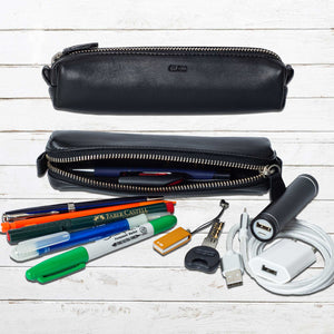 DiLoro Pen & Pencil Case: YKK zippered pencil, pen case made from top quality, full grain black nappa leather.