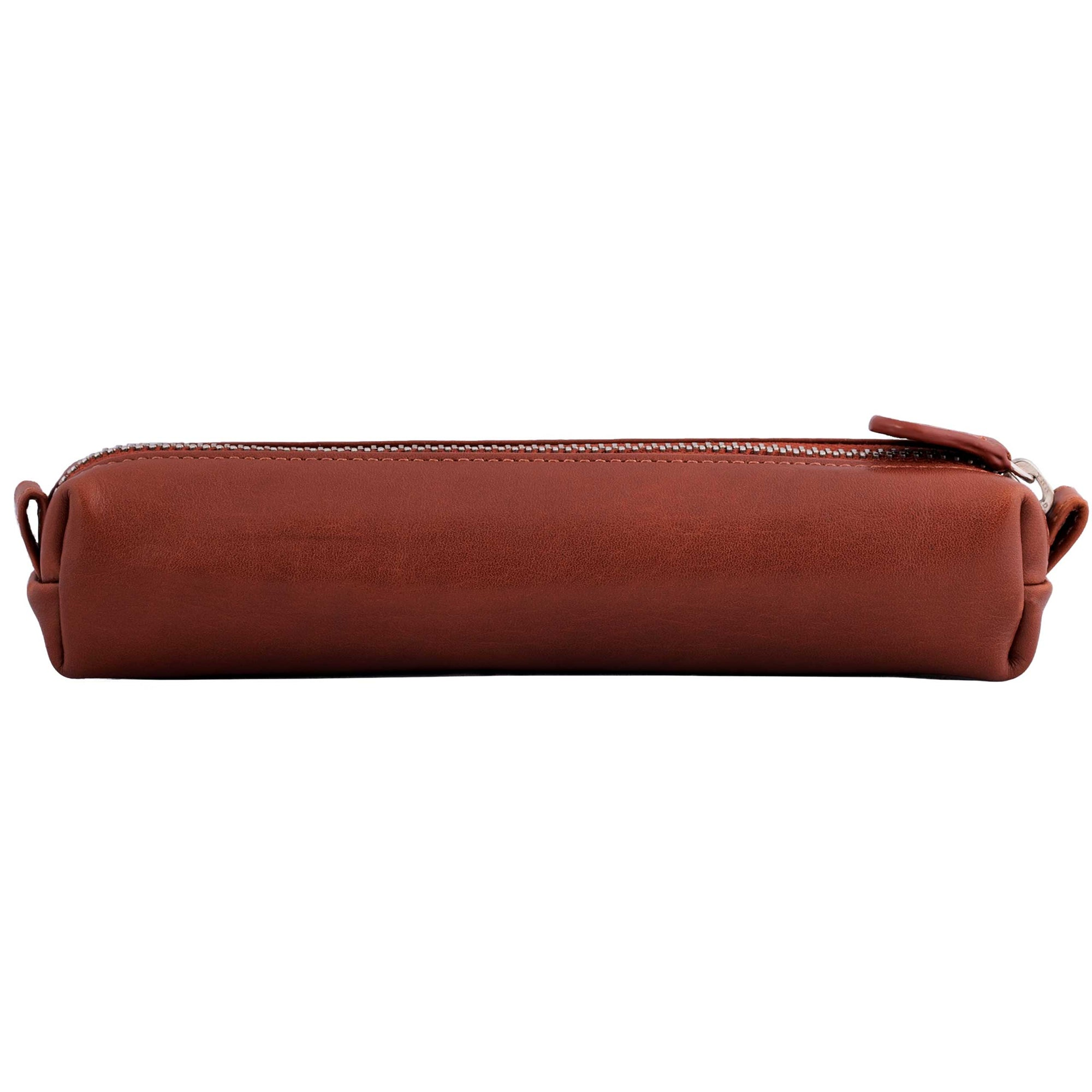 Multi-Purpose Zippered Leather Pen Pencil Case in Bugatti Tan