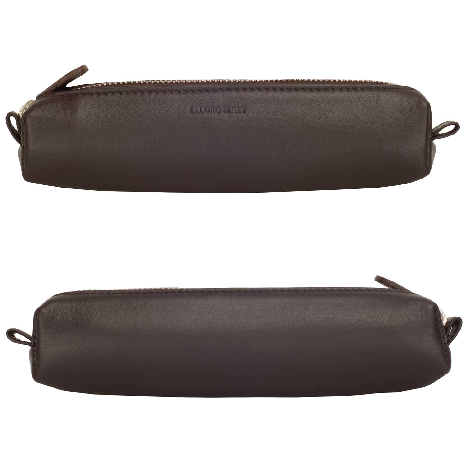 Multi-Purpose Zippered Leather Pen Pencil Case Pouch in Various Colors - Dark Brown (front and back)