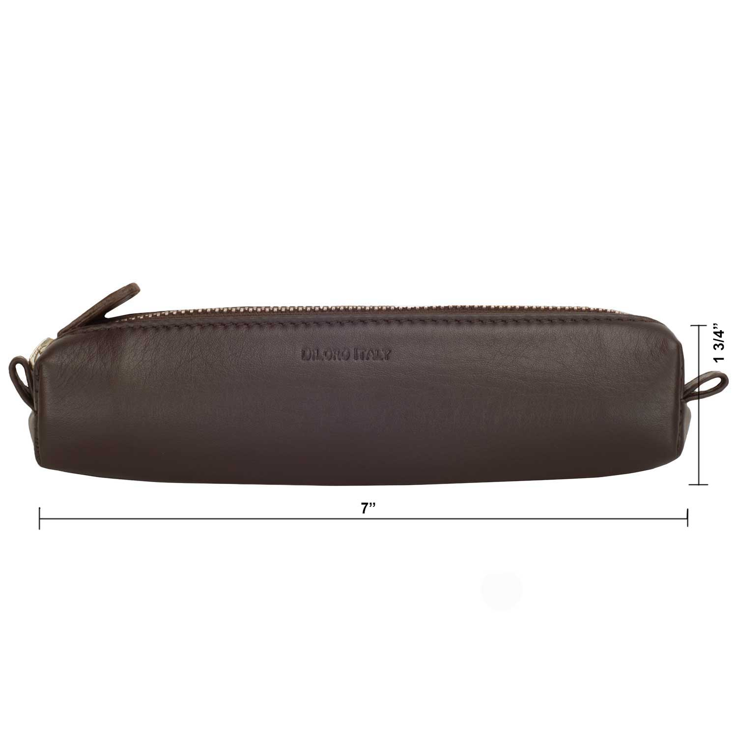 Multi-Purpose Zippered Leather Pen Pencil Case Pouch in Various Colors - Dark Brown (dimensions)