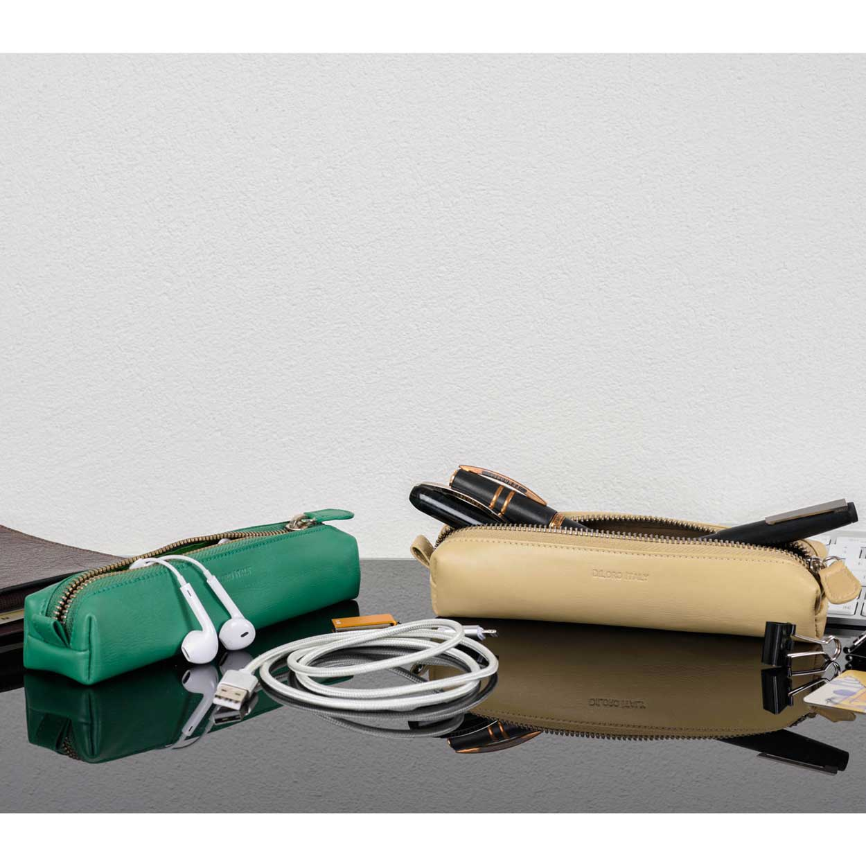 DiLoro Pen & Pencil Case: Color Light Green and Beige with YKK zippered pencil, pen case made from top quality, full grain nappa leather.