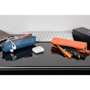 DiLoro Pen & Pencil Case: Color Sololin Blue and Orange with YKK zippered pencil, pen case made from top quality, full grain nappa leather.