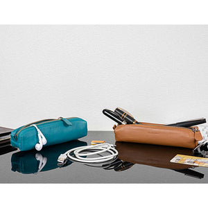 DiLoro Pen & Pencil Case: Color Turquoise Green and V-Tan with YKK zippered pencil, pen case made from top quality, full grain nappa leather.