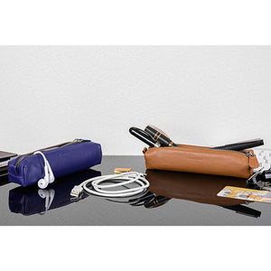 DiLoro Pen & Pencil Case: Color Violet and V-Tan with YKK zippered pencil, pen case made from top quality, full grain nappa leather.