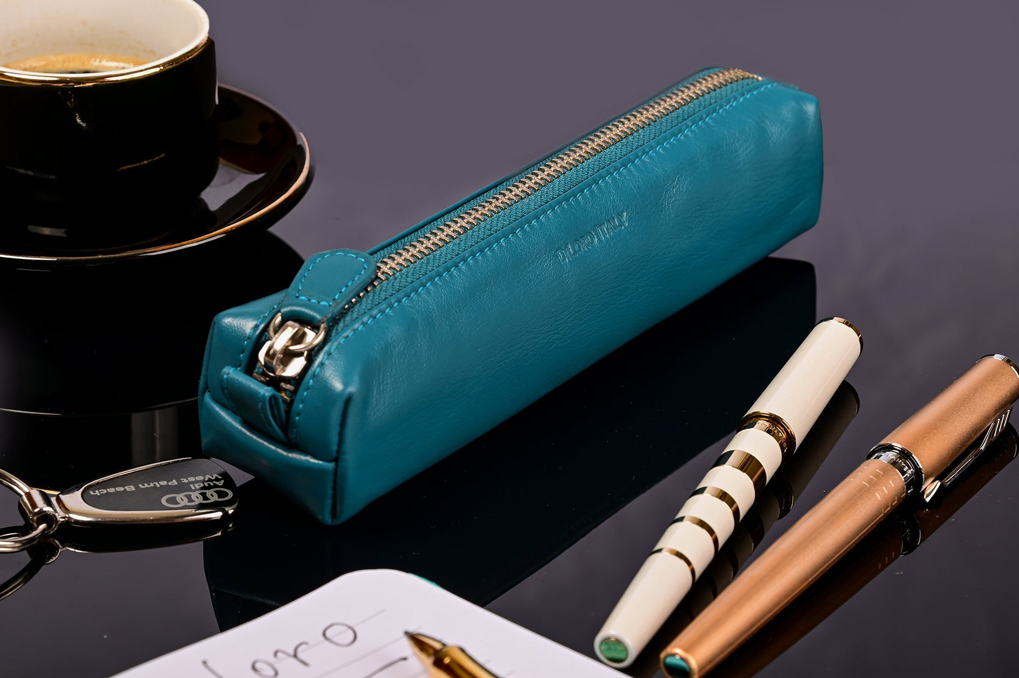 Multi-Purpose Zippered Leather Pen Pencil Case in Blue - Lifestyle Image