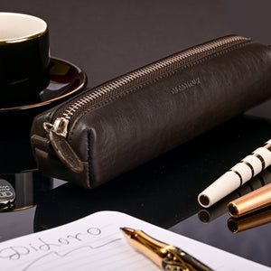 Multi-Purpose Zippered Leather Pen Pencil Case Pouch in Dark Brown - Lifestyle Image