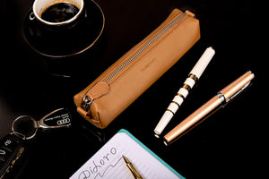 Multi-Purpose Zippered Leather Pen Pencil Case in V Tan - Lifestyle Picture