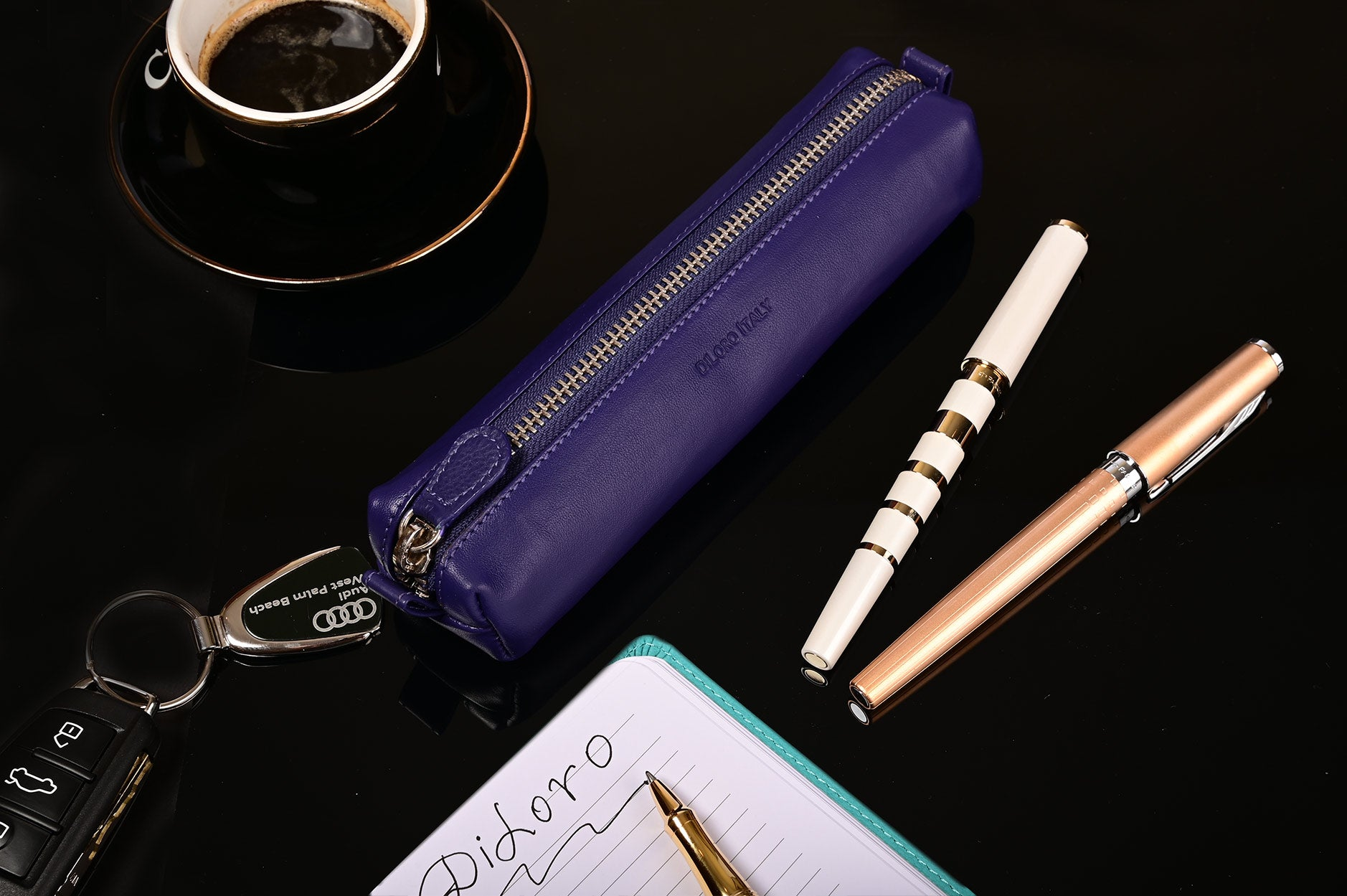 Multi-Purpose Zippered Leather Pen Pencil Case in Violet - Lifestyle Image