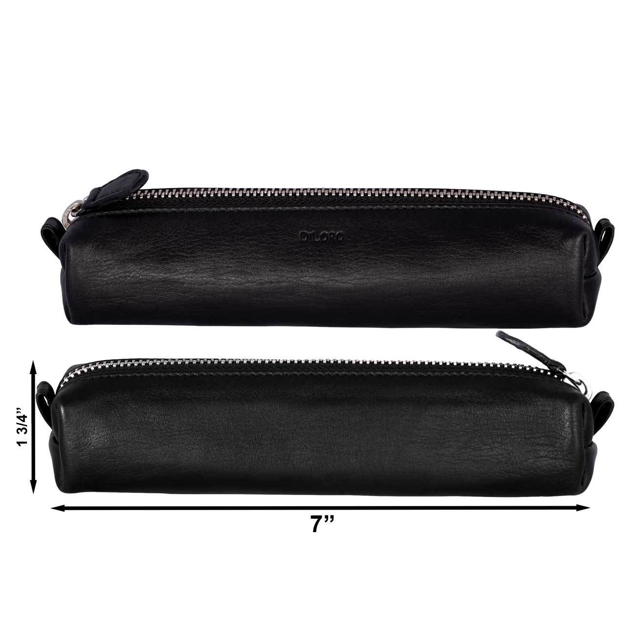 Multi-Purpose Zippered Leather Pen Pencil Case in Various Colors - Black (front and back side)