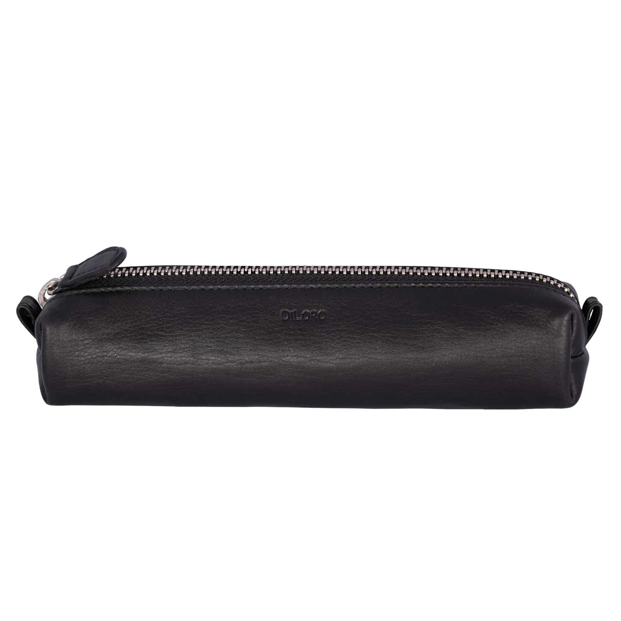 Multi-Purpose Zippered Leather Pen Pencil Case in Various Colors - Black with DiLoro logo
