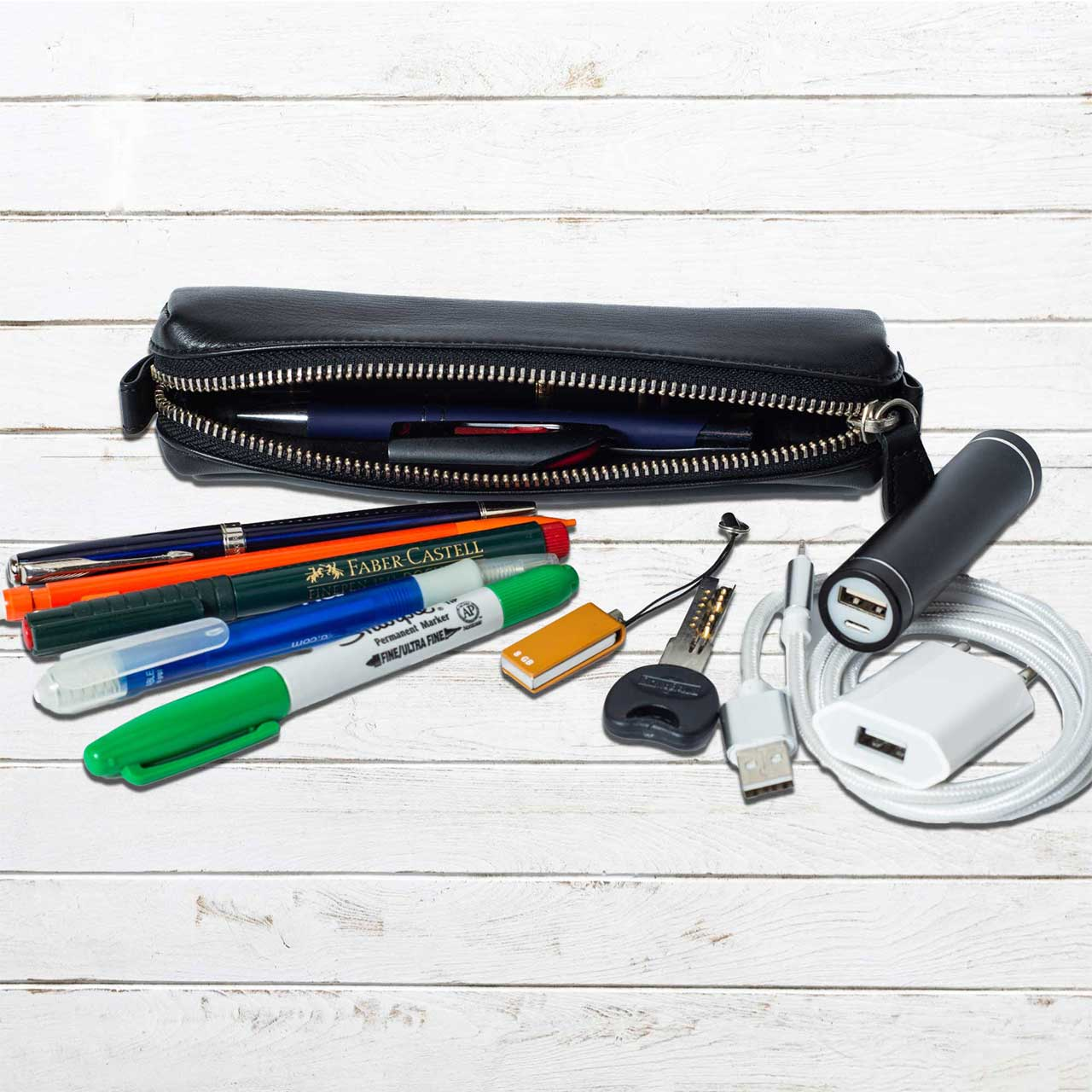 DiLoro Pen & Pencil Case: YKK zippered pencil, pen case made from top quality, full grain nappa leather. Ideal for when you travel to keep your favorite pen, pencils, fountain pen, calligraphy pens, gel pens, stylus pen protected in one pouch.