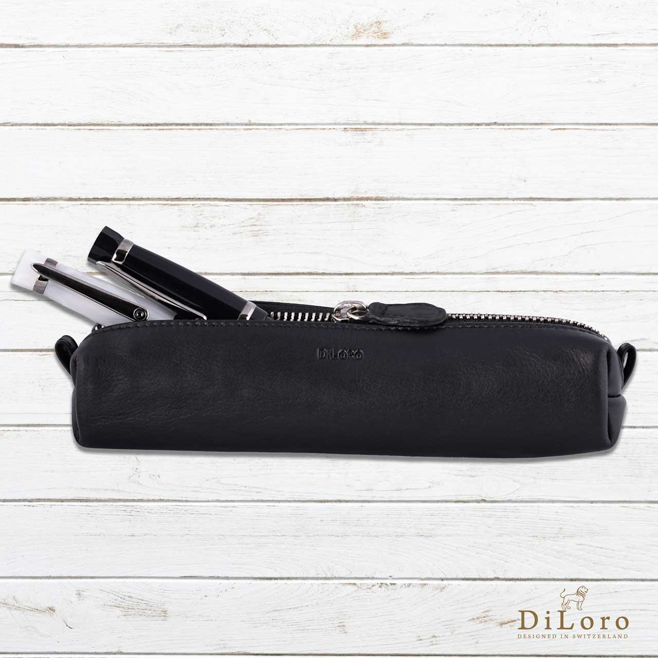 DiLoro Pen & Pencil Case: YKK zippered pencil, pen case made from top quality, full grain nappa leather. Ideal for when you travel to keep your favorite pen, pencils, fountain pen, calligraphy pens, gel pens, stylus pen protected from getting scratched up