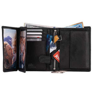 DiLoro Men's Vertical Leather Bifold Flip ID Zip Coin Wallet Black with RFID Protection - Fully Open View with Double Clear See-Thru  ID/Photo Windows