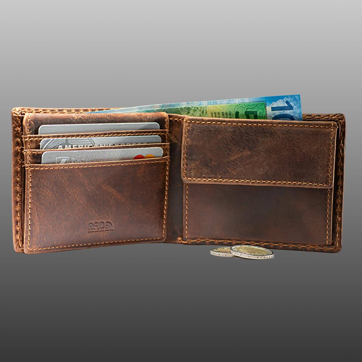 Compact Bifold Leather Wallet RFID Safe Antique Brown