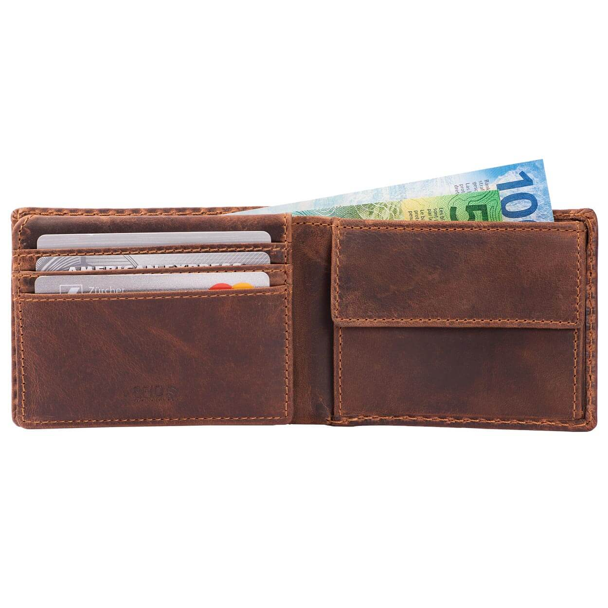 Compact Mens Leather Wallet with Coin Compartment in Antique Brown - Inside View, Flip-ID Closed