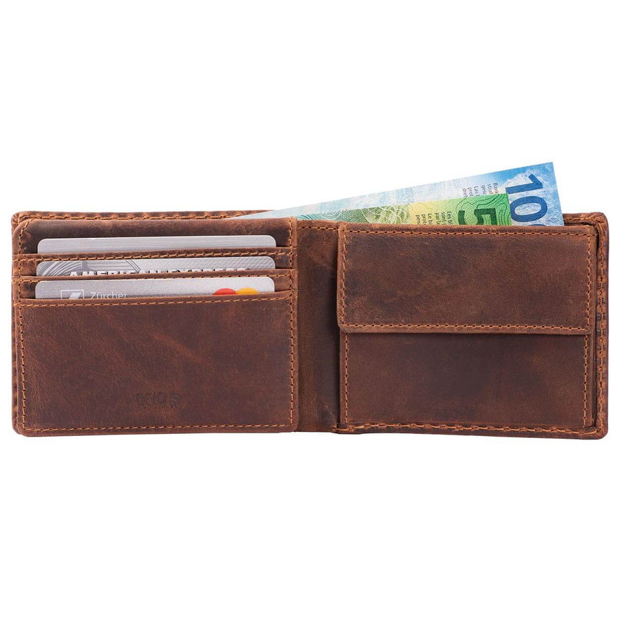 Compact Mens Leather Wallet with Coin Compartment in Antique Brown - Front View