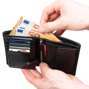 Men's Large Leather Wallet RFID Vertical 2.0 Black - Half Open Euros